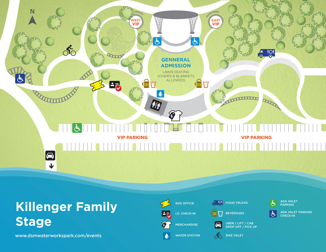 Des Moines Water Works Park accessibility map