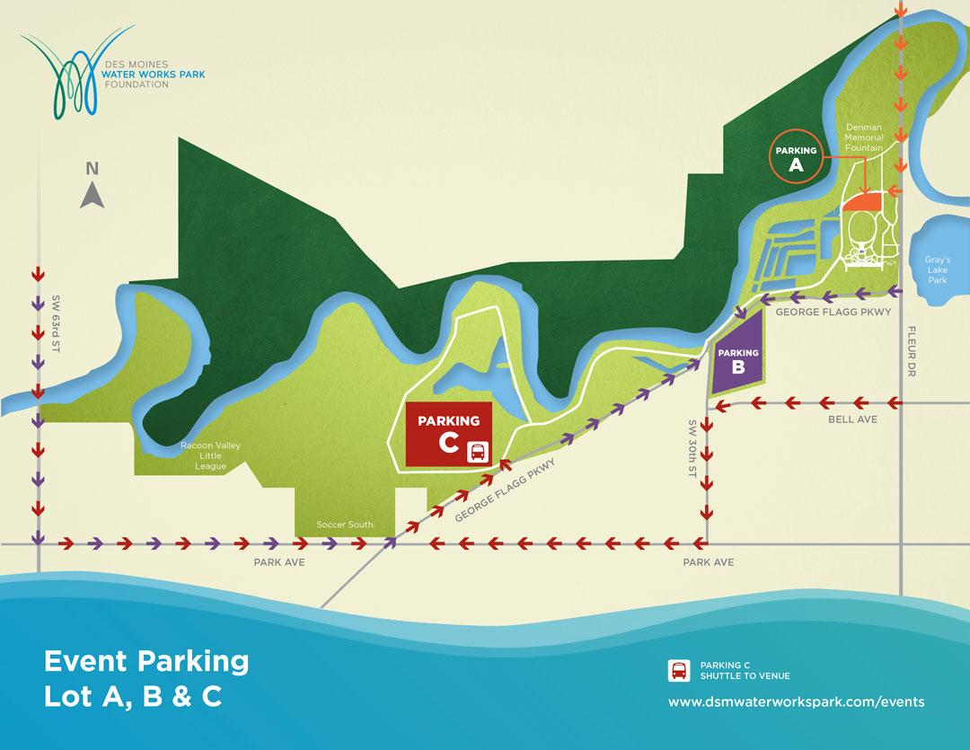 Des Moines Water Works Park parking